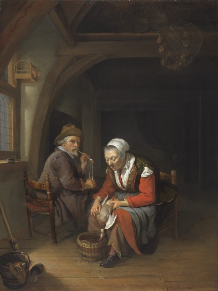 Elderly Couple in an Interior, Frans van Mieris, c. 1650-1655 (Leiden Collection Catalogue)