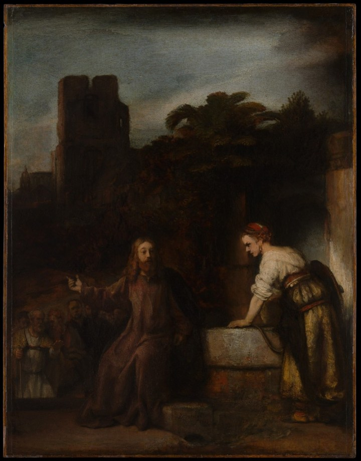 Christ and the Woman of Samaria, Rembrandt and pupil, c. 1655 (Metropolitan Museum of Art, New York)