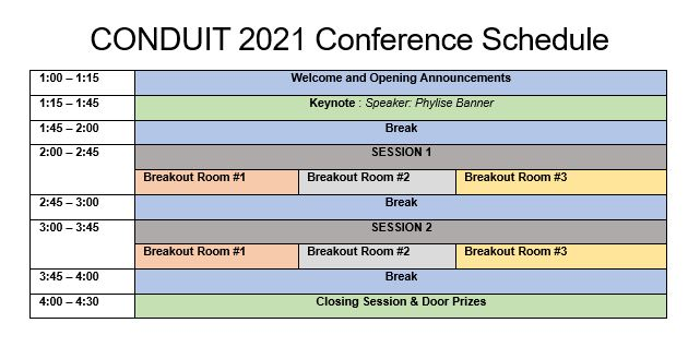 CONDUIT 2021 Schedule