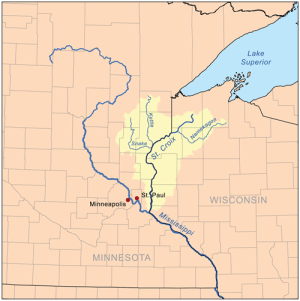 Overview map of the St. Croix River and its watershed