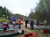 Canoes queued up at the start.