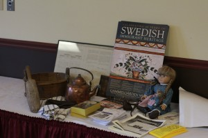A display at the Stillwater workshop featuring Scandinavian heritage, provided by Scandia's Gammelgarden Museum