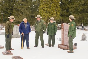 Riverway staff and Charlie Clark visit Gaylord Nelson's gravesite.