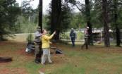 Fly fishing lessons from ranger Jeff at the Larsen Bridge landing.