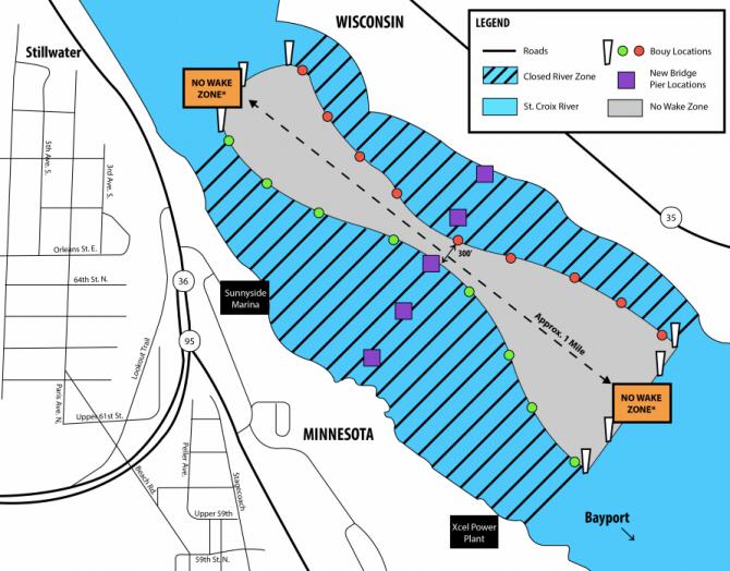 Map of St. Croix River bridge no-wake zone