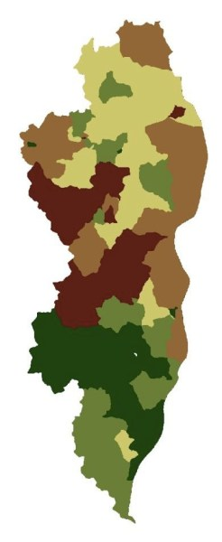 The final analysis showing areas of Washington County with the highest potential for reducing runoff to the St. Croix River