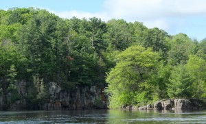 St. Croix River cliff on Wisconsin side of river near Franconia
