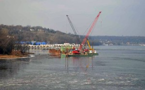 Construction barges on the St. Croix (photo courtesy St. Croix Crossing)