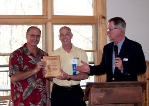 Rick Wells and Rick Chapman of Sunnyside Marina accepting their 2013 Stewardship Award from SCRA board chair Gary Noren.