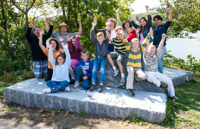 Celebrating completion of the St. Croix Falls Art Bench in 2006.