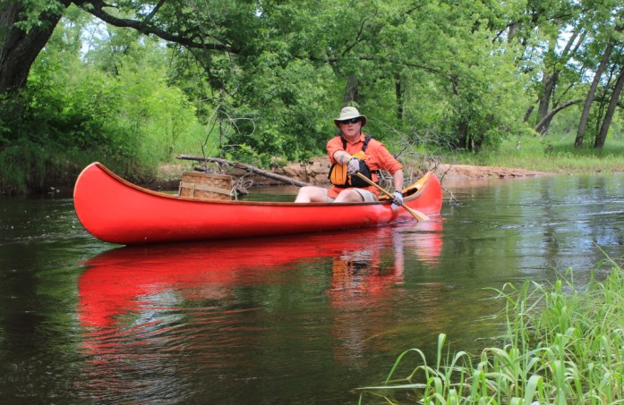 Mike Bartz and his canoe companion.