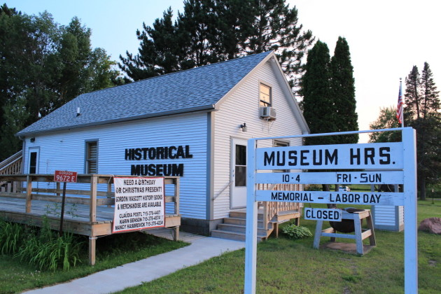 The Gordon Historical Society building was originally a fur post storehouse.
