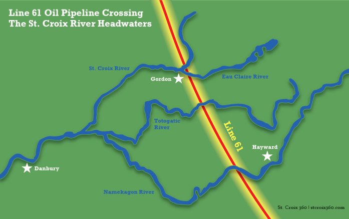 Line 61 crossing the St. Croix River headwaters map