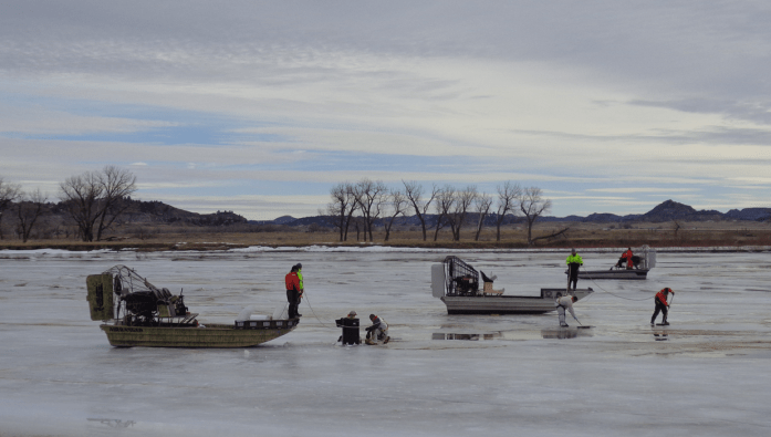 Oil recovery operations on the Yellowstone River, January 26, 2015