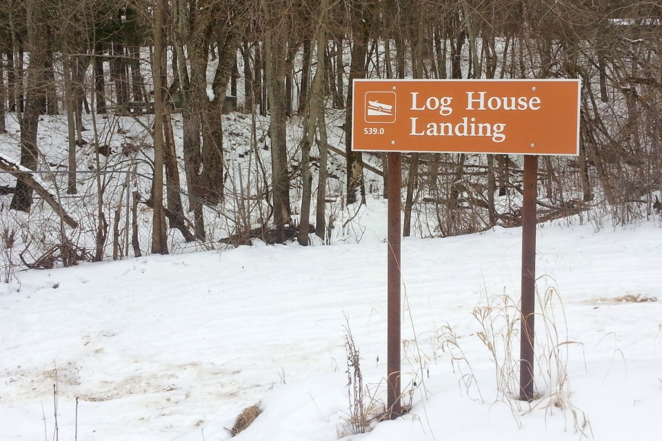 Log House Landing sign