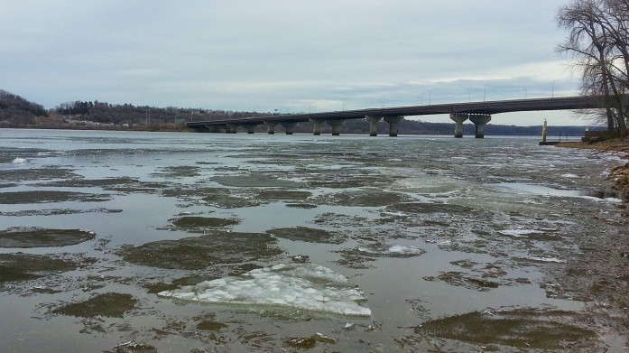 Ice and open water near the I-94 bridge on Monday, March 16.