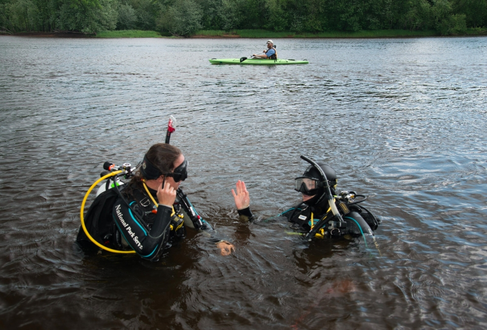 Greg Seitz kayaking and reporting on the St. Croix River