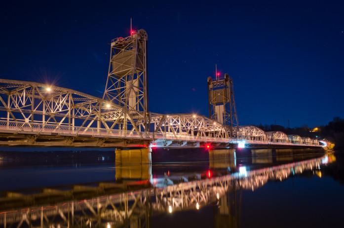 Stillwater Lift Bridge at night