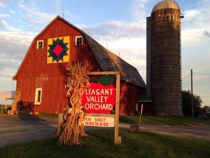 """Featuring Pleasant Valley Orchard's new """"barn quilt"""" as part of a Chisago County <a href=""""http://www.clac-foundation.com/news-events/swedish-barn-quilt-trail/"""">initiative</a>."""