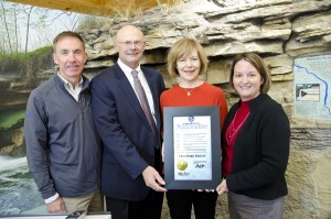 Tourism Director Jon Edman, DNR Commissioner Tom Landwehr, Lt. Governor Tina Smith, Parks & Trails Director Erika Rivers
