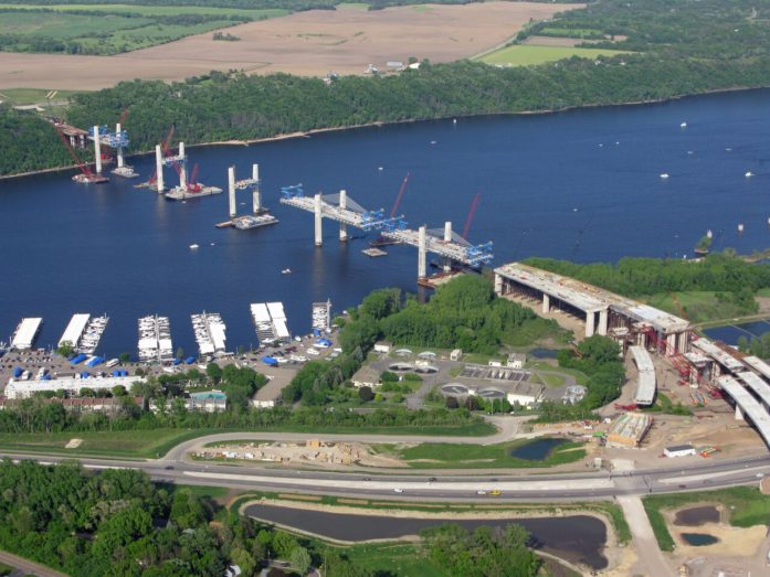 Bridge construction as of May 22, 2016 (Photo via St. Croix Crossing)