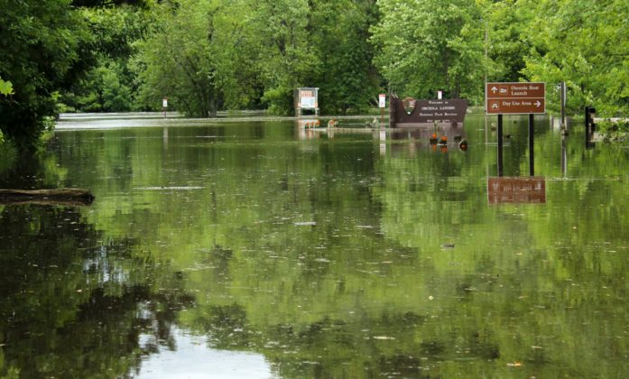 Osceola Landing's parking lot under several feet of water. (National Park Service photo)
