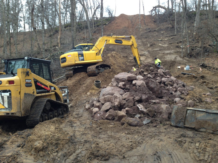 Working on the ravine in November 2015. (Photo courtesy Carnelian-Marine-St. Croix Watershed District)
