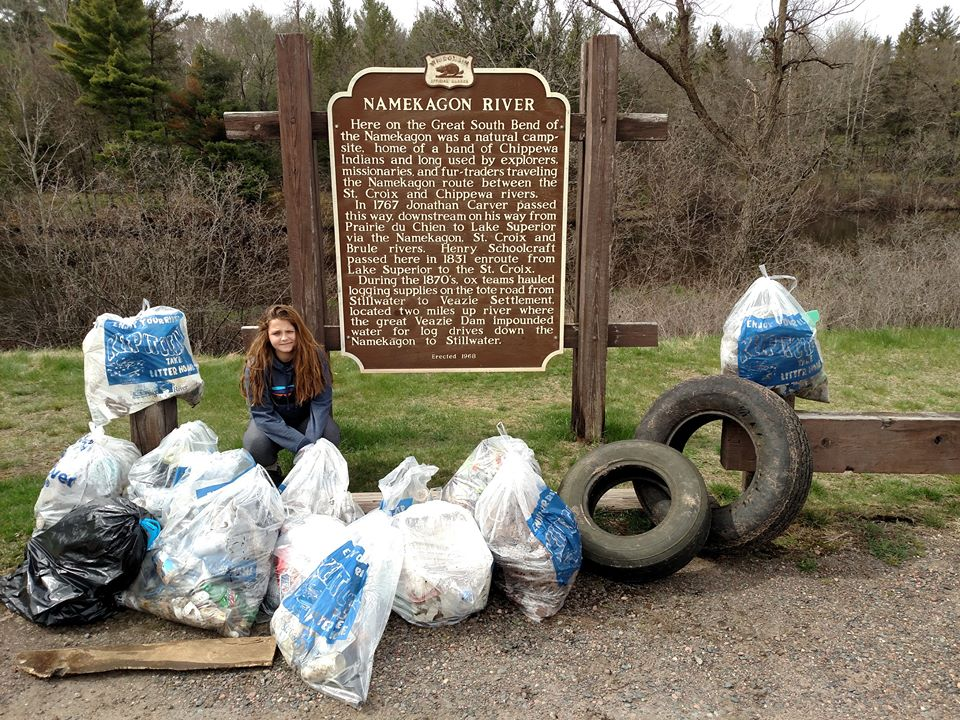 One group's haul from a previous Namekagon River clean-up. (Namekagon River Partnership)