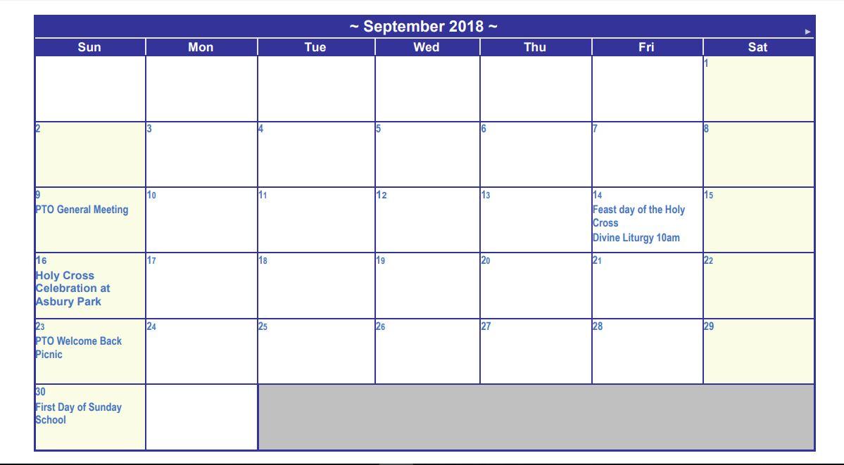 Greek Orthodox Calendar.September 2018 Calendar St Demetrios Greek Orthodox Church