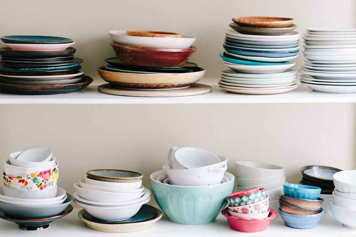 Shelves of dishes to use for your holiday party planning