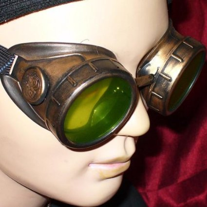 Copper Steampunk Goggles With Fluorescent Green Lenses