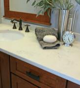 Craftsman Style Master Bath Remodel in Elkhorn - moon-quartz-counter-detail8