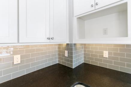 Subway tile backsplash in mint