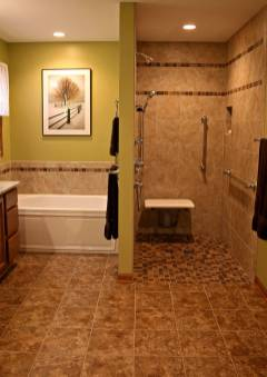 Shower is moved and reconstructed making it wheelchair accessible