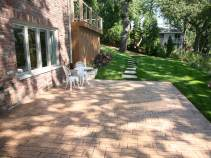 Perfect views of the lake are enjoyed on this stamped concrete patio
