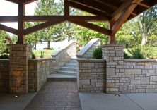 Cement pillars with stone veneer