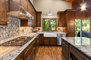 Cabinet, Sink, Countertop, Stove