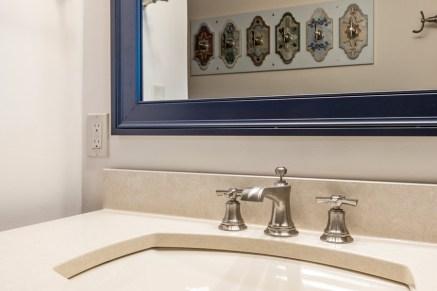 Cambria quartz countertops and Brizo brushed nickel faucet