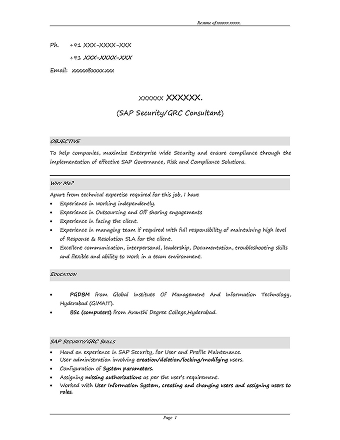 sap grc security sample resume 3 10 years experience stechies