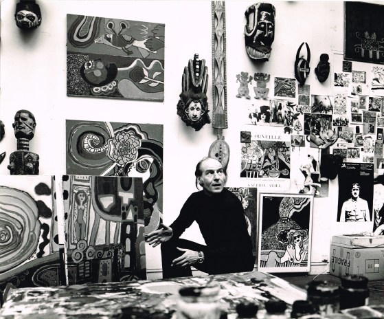 Corneille in atelier on Rue Clignancourt, Paris, late 60s. Photography: Nico Koster
