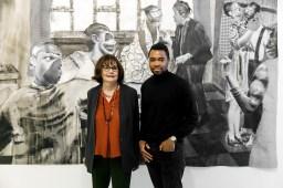 Liesbeth Willems, curator namens Rattan Chadha (l) en Neo Matloga. Fotografie: Aad Hoogendoorn