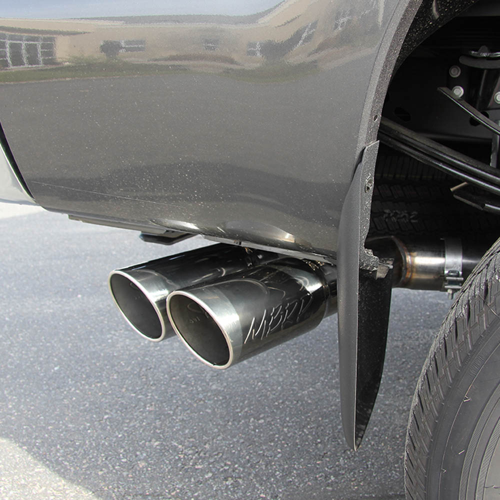 mbrp f 250 350 6 7l installer series 4 filter back single side dual exit exhaust 2015 2016