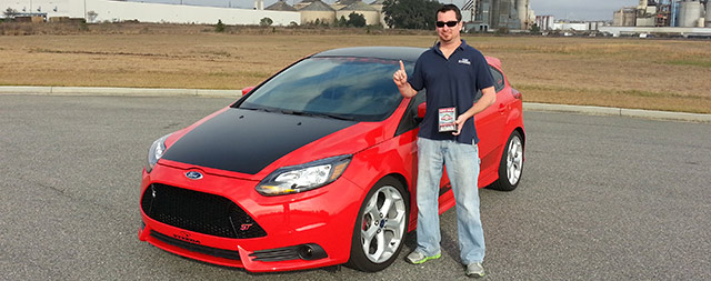 Director of Manufacturing, Scott Boda, with Steeda's Development Focus ST