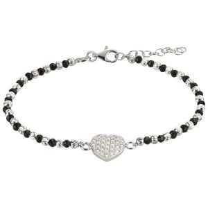 Silberarmband mit Herz und gefassten Steinen