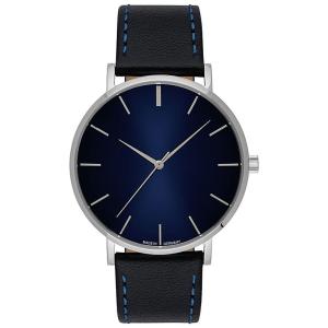 Uhr inklusive Gravur gehäuse silber zifferblatt blau