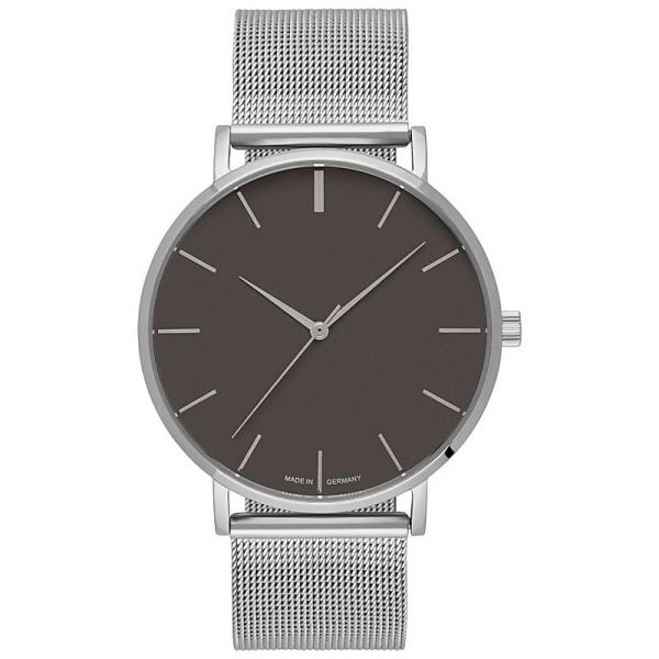 Uhr inklusive Gravur silber mit grauen Zifferblatt