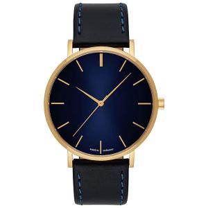 Uhr inklusive Gravur goldenes gehäuse blaues zifferblatt