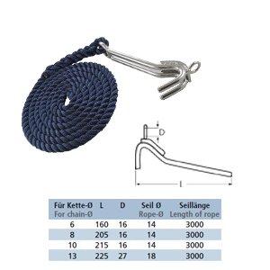 Kettenkralle mit Seil