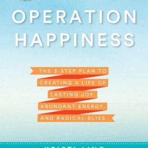 Operation Happiness book cover blue background, white writing