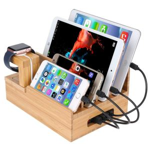 The charging station organizer is 100% handmade, beautiful, unique & patented elegant, durable construction.